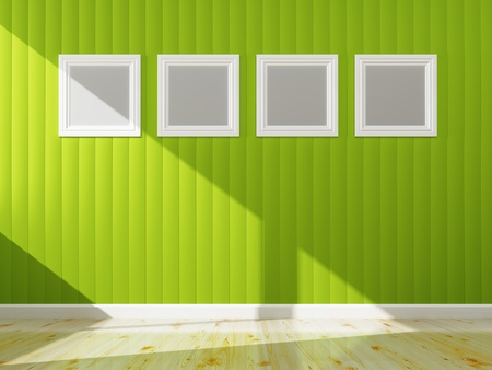 Green wall color and white frame of interior, 3d rendering