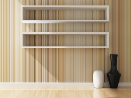 white shelf and wallpaper decorated of interior, 3d rendering photo