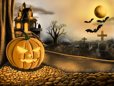 Halloween concept of digital paint photo