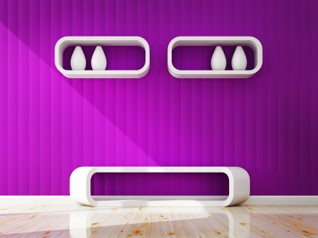 White shelf and site Stool decorate 3d rendering photo