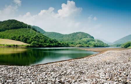 Bhumibol dam at the bottom area,  reservoir in thailand photo