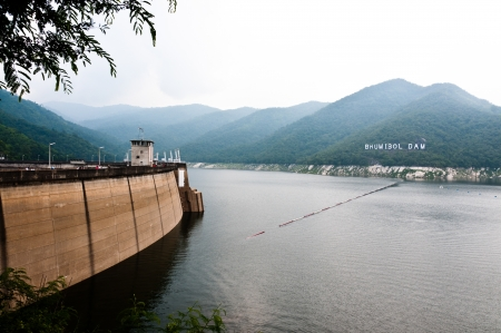 Big area for keep water on Bhumibol dam, Thailand photo