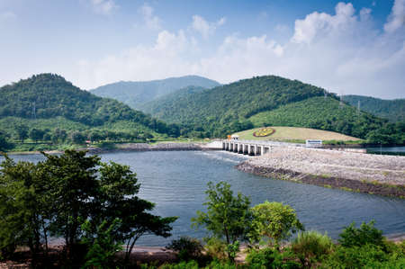 dike: Landscape of Bhumibol dam at the bottom area