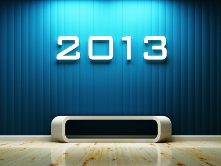interior space and 2013 text build-in the wall decorated, 3d rendering Stock Photo