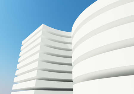 abstract white architecture building, 3d rendering photo