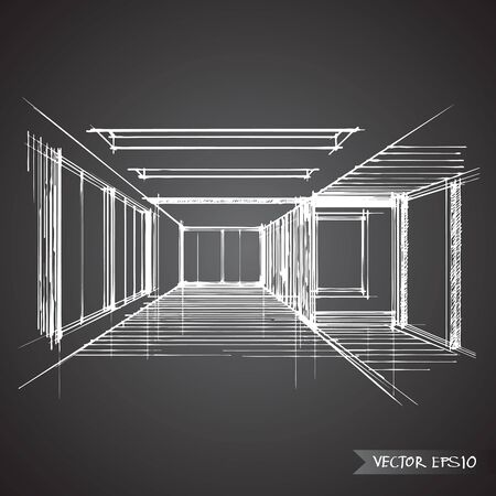 house sketch: empty room of interior vector design