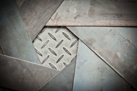 金属のクローズ アップ シートと金属ダイヤモンド プレート、diy のフレームの背景