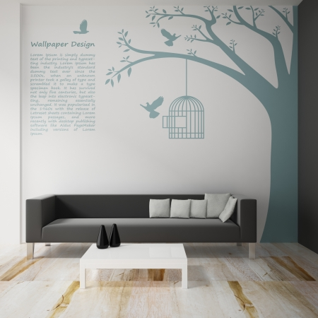 Interior decorate of wallpaper design 3d rendering photo