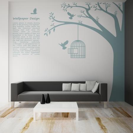 Interior decorate of wallpaper design 3d rendering