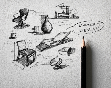 pencil sketch of furniture concept design on white paper  photo