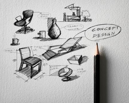 pencil sketch of furniture concept design on white paper