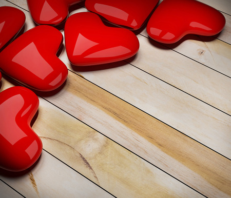 red heart on wood floor 3d rendering  photo