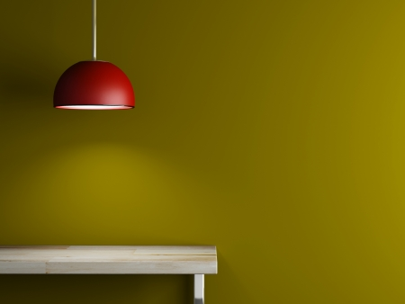Lamp van interieur en tafel 3D-rendering Stockfoto - 23995260