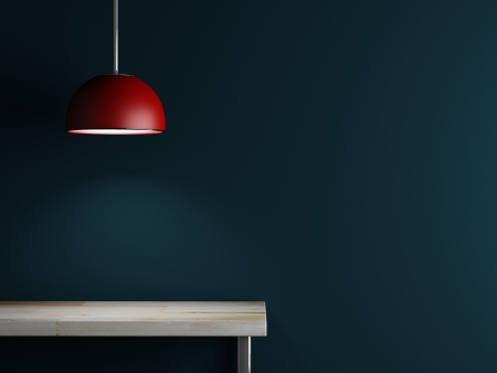 Lamp of interior decoration and table 3d rendering