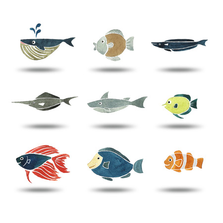 cartoon whale: illustration of fishes group watercolor painting