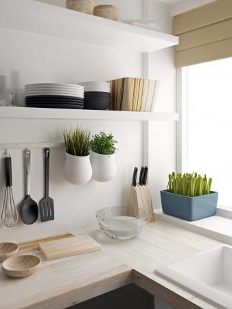 キッチン ルームのデザインのクローズ アップ 写真素材