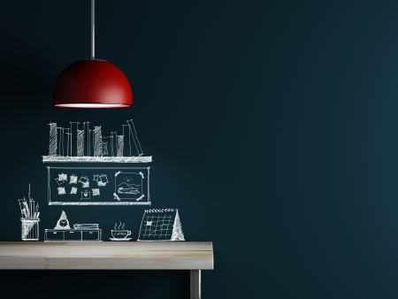 Lamp of interior decoration and sketch accessory on wall