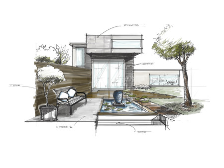 Sketching of Garden decorate at home Stockfoto