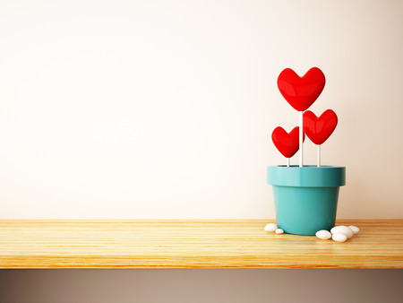 red heart in flower pot concept Stock Photo