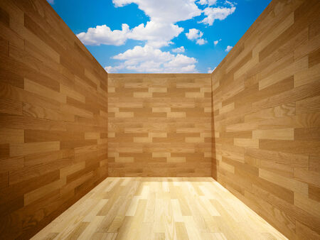 open space of room wood created photo