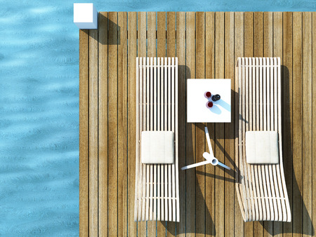 daybed: daybed on wood floor in the sea, travel of summer concept