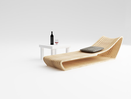 daybed: Daybed design of wood production concept and white coffee table