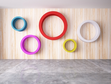 Cycle of color on the wood wall photo