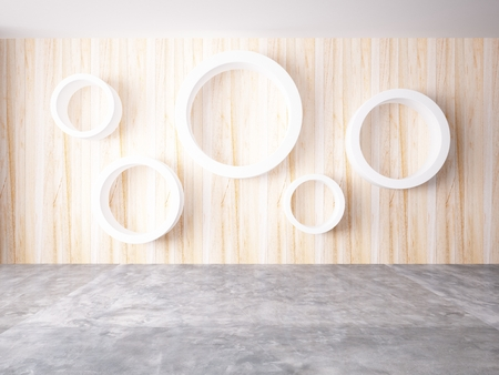 Cycle of white color on the wood wall photo