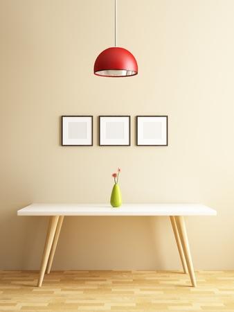 モダンな白いテーブルとフレームの装飾を画像します。