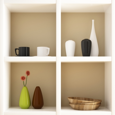 Object on white shelf decorations photo