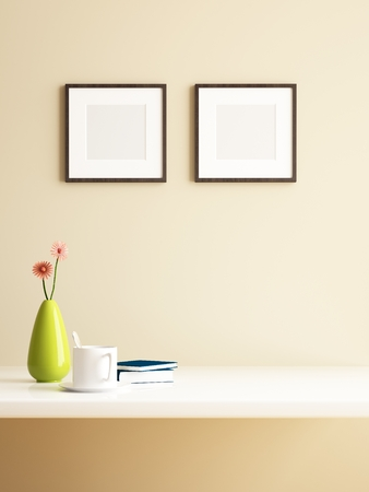 frame on wall: vaso di fiori e picture frame decorazioni di interior design Archivio Fotografico