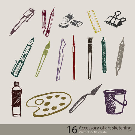 pencil symbol: accessory art object of vector sketching create