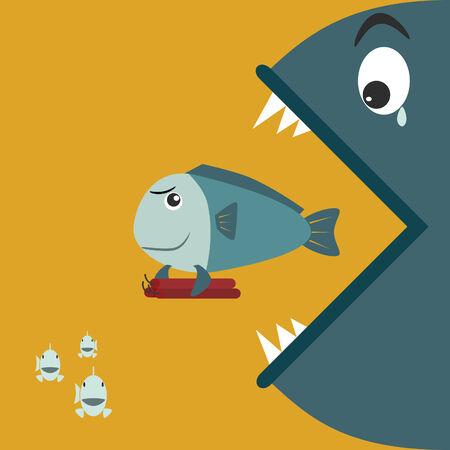 Big fish eating a small fish at the holding bomb