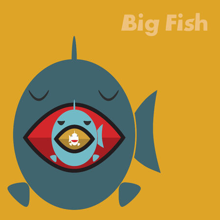 Big fish eating a small fish concept Vector