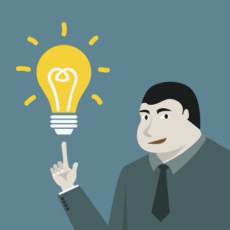 Businessman and lamp idea conception Vector