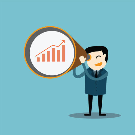 Businessman looking business graph data with a zoom lens concept Vector