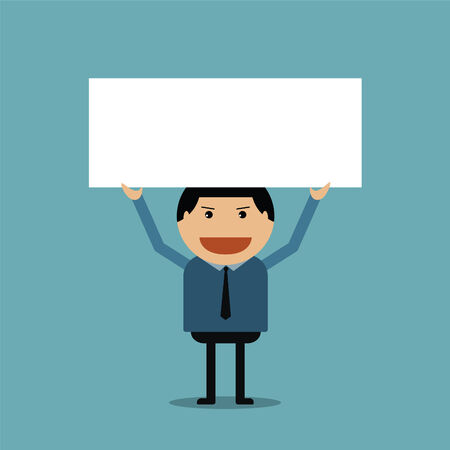 Businessman holding show of white board Vector