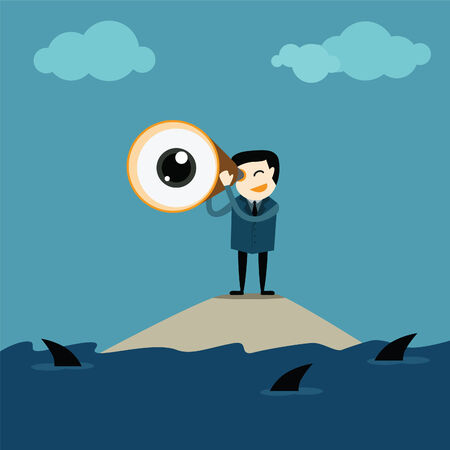 Businessman taking a zoom lens looking for future conception Vector