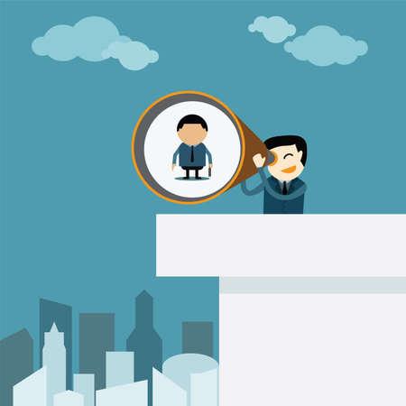 marketing goals: businessman taking a zoom lens looking of human worker  Illustration