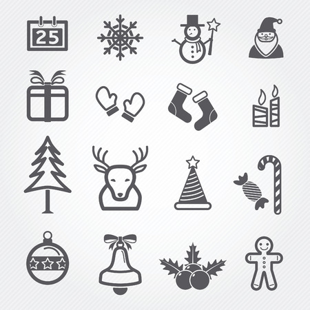 Christmas icons isolated on white Vector
