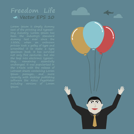 obvious: Freedom life concept and businessman release the balloon Illustration