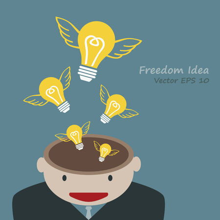 Lamp of idea concept out of head businessman Vector