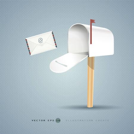 Mailbox and letter illustration concept of vector design Illustration