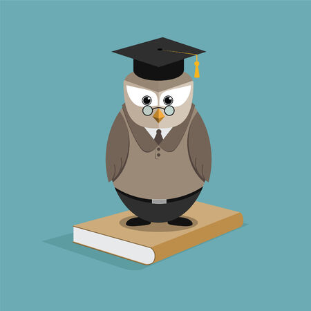 Owl student standing on the book Vector