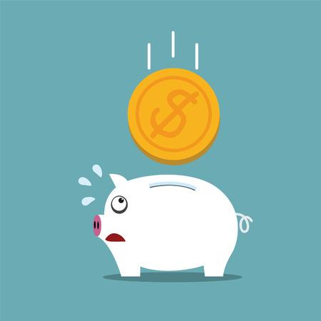 Piggy bank with a big money concept Vector
