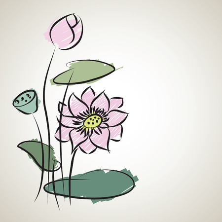 water lily pattern of illustrator sketching Vector