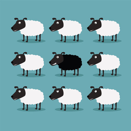 White sheep and black sheep Vector