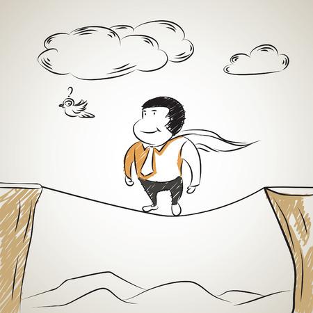 tightrope: illustratie schets van super zakenman lopen op een koord-concept