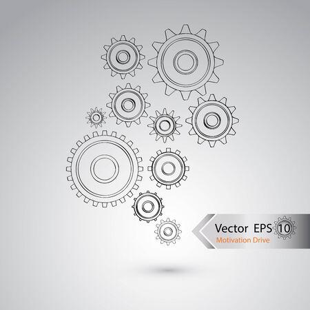mid air: Rueda del vector de dise�o de concepto industrial Vectores