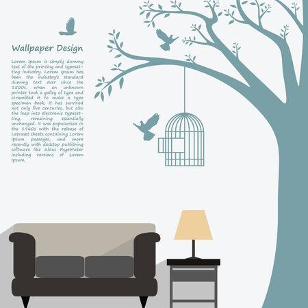 showcase interior: disegno carta da parati di forma naturale per interni decorati Vettoriali